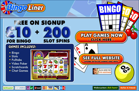 Join Bingoliner for Free and get  £20 Free Bingo Money+ 200% Bingo Bonus
