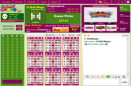 Join Gone Bingo UK for Free and get  £15 Free Bingo Money+ 300% Bingo Bonus